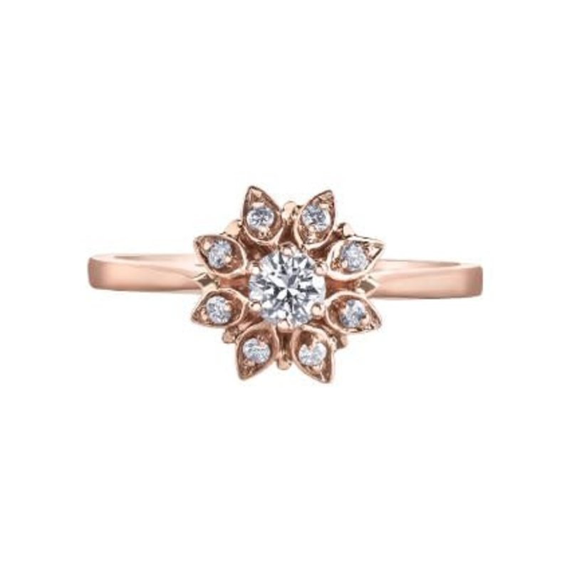 I am Canadian 10K Rose Gold (0.26ct) Canadian Diamond Floral Ring