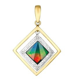 Korite Korite Eva Ammolite 14K Yellow Gold Diamond Pendant