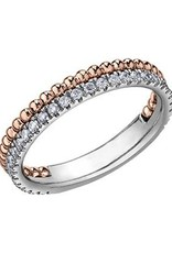 10K Rose and White Gold (0.30ct) Diamond Stackable Wedding Band