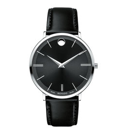 Movado Ultra Slim Mens Watch Black Dial with Black Leather Band