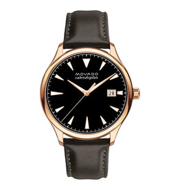 Movado Movado Heritage Series Mens Black Dial Watch with Brown Leather Band