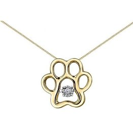 10K Yellow Gold (0.02ct) Dancing Diamond Bear Paw Pendant