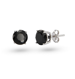 Sterling Silver (4mm - 6mm) Round Black CZ Studs Earrings
