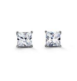 Sterling Silver (3mm - 7mm) Square CZ Stud Earrings