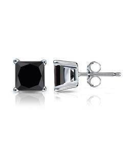 Sterling Silver (4mm - 6mm) Square Black CZ Stud Earrings