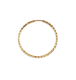 Yellow Gold (15mm - 45mm) Diamond Cut Hoop Earrings