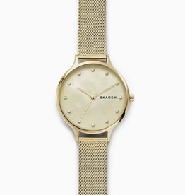 Skagen Skagen Anita Mother-of-Pearl Gold-Tone Steel-Mesh Ladies Watch