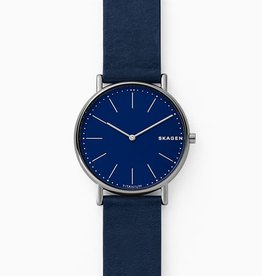 Skagen Skagen Signatur Slim Titanium and Blue Leather Watch