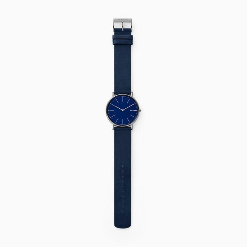 Skagen Skagen Signatur Slim Titanium and Blue Leather Watch