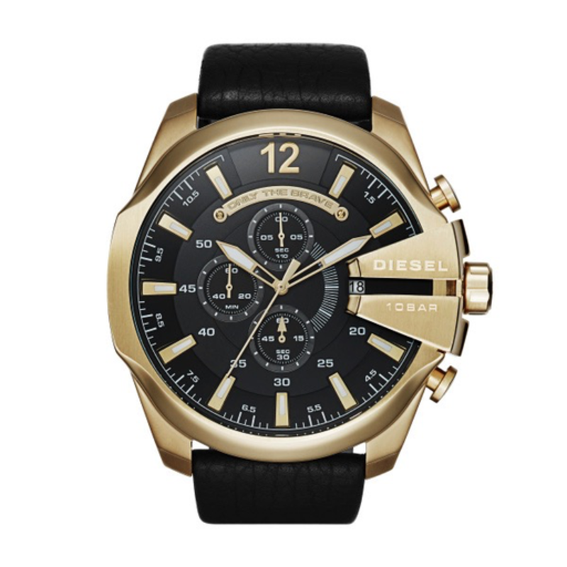 Diesel Diesel Chief Mens Gold Tone and Black Leather Chronograph Watch