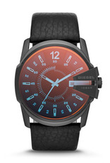 Diesel Diesel Master Chief Mens Black Leather Strap Watch