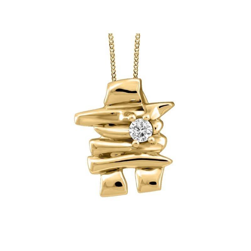 10K Yellow Gold Canadian Diamond Inukshuk Pendant (0.03ct - 0.12ct)
