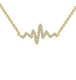 Lafonn Lafonn Heart Beat Sterling Silver Yellow Gold Plated Necklace