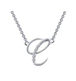 Lafonn Lafonn Initial C Simulated Diamond Sterling Silver Necklace