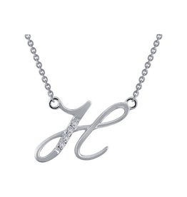 Lafonn Initial H Simulated Diamond Sterling Silver Necklace