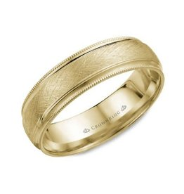 Crown Ring CrownRing Yellow Gold Diamond Brushed Band (10 - 18K)