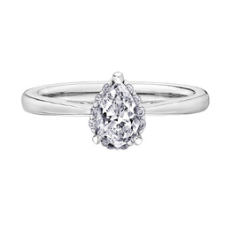 14K White Gold (0.58ct) Pear Shaped Diamond Halo Engagement Ring
