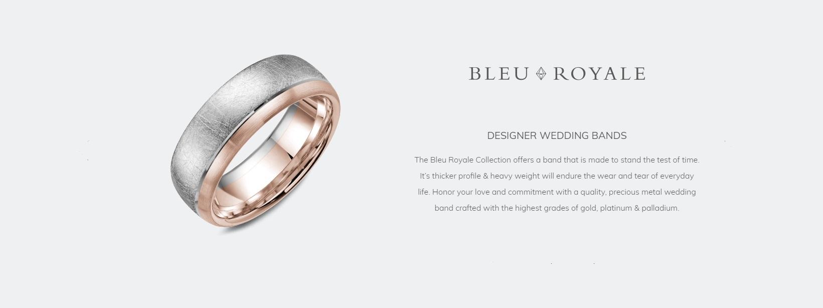 Bleu Royale designer wedding bands
