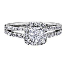 Maple Leaf Diamonds Halo Cushion 1.40ct White Gold Maple Leaf Canadian Diamond Ring