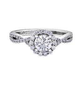 Maple Leaf Diamonds Halo Round 0.90ct White Gold Maple Leaf Canadian Diamond Ring
