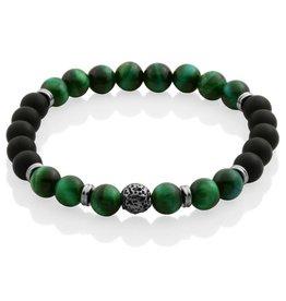 Steelx Steelx Black Agate and Green Tiger Eye Mens Beaded Bracelet