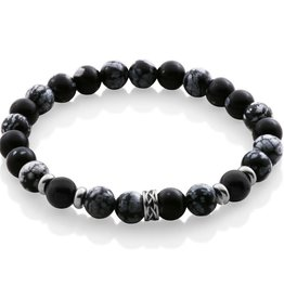 Steelx Matte Black Agate and Grey Beaded Bracelet with Stainless Steel Spacers
