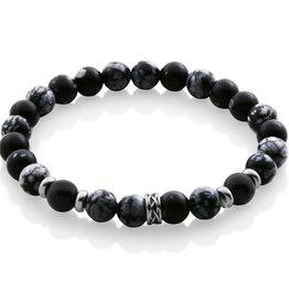 Steelx Steelx Black Agate and Grey Mens Beaded Bracelet