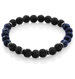 Steelx Steelx Lava and Blue Lapis Mens Beaded Bracelet