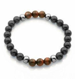 Steelx Steelx Red Tiger Eye and Black Agate Mens Beaded Bracelet