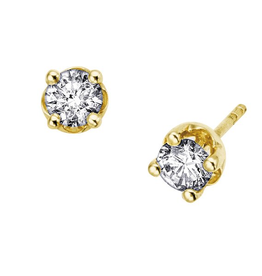Yellow Gold Diamond Stud Earrings (0.06ct - 0.40ct)