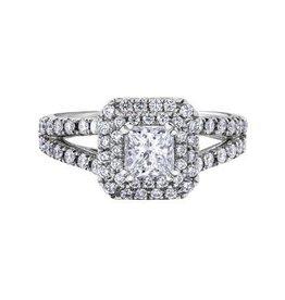 Maple Leaf Diamonds Halo Princess Cut 1.65ct White Gold Maple Leaf Canadian Diamond Ring