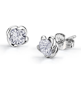 Maple Leaf Diamonds 18K White Gold Canadian Diamond (0.10ct - 1.00ct) Winds Embrace Stud Earrings