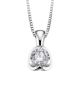 18K Palladium White Gold (0.15ct - 0.50ct) Half Moon Diamond Pendant