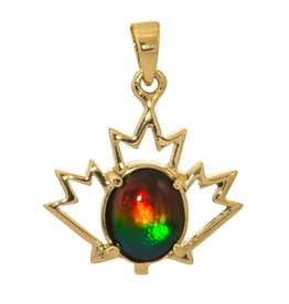 Korite Korite Canadiana Ammolite 14K Yellow Gold Maple Leaf Pendant
