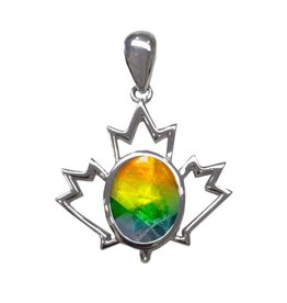 Korite Korite Canadiana Ammolite Sterling Silver Maple Leaf Pendant