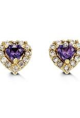 Yellow Gold Halo Purple Heart Baby Earrings