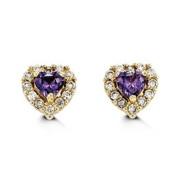 14K Yellow Gold Halo Heart Purple CZ Baby Earrings