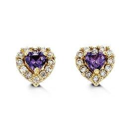 Halo Heart Purple CZ Yellow Gold Baby Earrings
