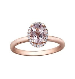 Maple Leaf Diamonds Morganite and Diamond Oval Halo Rose Gold Ring