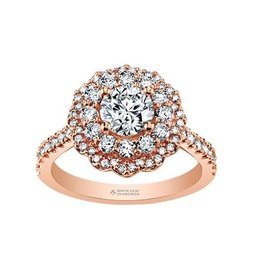 Maple Leaf Diamonds 14K Rose Gold Maple Leaf  (0.75ct) Canadian Diamond Double Halo Pink Passion Engagement Ring
