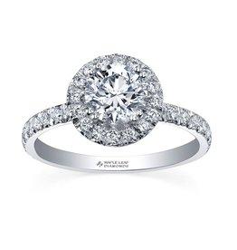 Maple Leaf Diamonds 18K Palladium White Gold Maple Leaf (1.35ct) Canadian Diamond Halo Engagement Ring