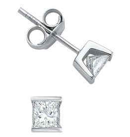 Maple Leaf Diamonds White Gold Princess Cut  (0.10ct - 0.50ct) Diamond Stud Earrings