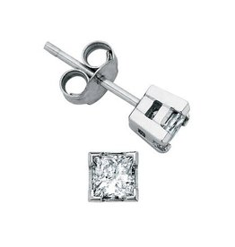 Maple Leaf Diamonds White Gold Princess Cut  (0.10ct - 1.00ct) Canadian Diamond Stud Earrings