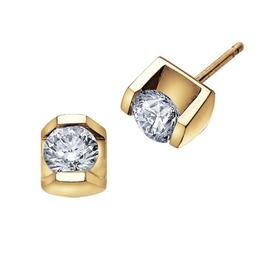Maple Leaf Diamonds Yellow Gold Tension Set (0.15ct - 0.50ct) Diamond Stud Earrings
