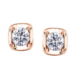 Maple Leaf Diamonds Rose Gold Tension Set (0.15ct - 0.50ct) Canadian Diamond Stud Earrings