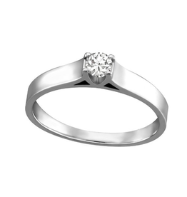 Fire and Ice 10K White Gold (0.05ct - 0.20ct) Canadian Diamond Solitaire Ring
