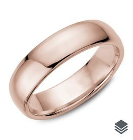 10K Gold Dome Wedding Bands 6mm (Yellow, White & Rose)