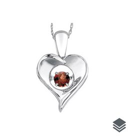 Dancing Birthstone Heart Pendant (Jan -Dec) Sterling Silver