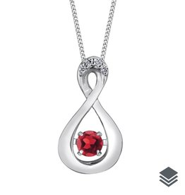 Dancing Birthstone Diamond Infinity Pendant (Jan - Dec) White Gold