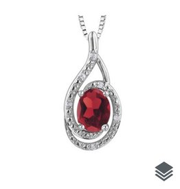 Birthstone Diamond Pendant (Jan - Dec) Sterling Silver